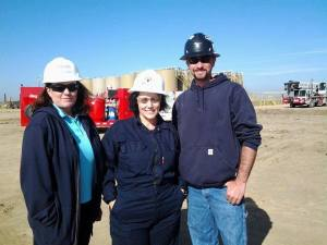 This photo was taken during the rig tour portion of the Lifecycle of Oil and Natural Gas certificate course. Lisa Hamil is pictured on the left.
