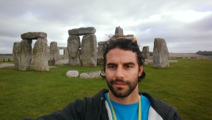 This photo of Chris Longwell was taken at Stonehenge, a prehistoric monument located in Wiltshire, England.